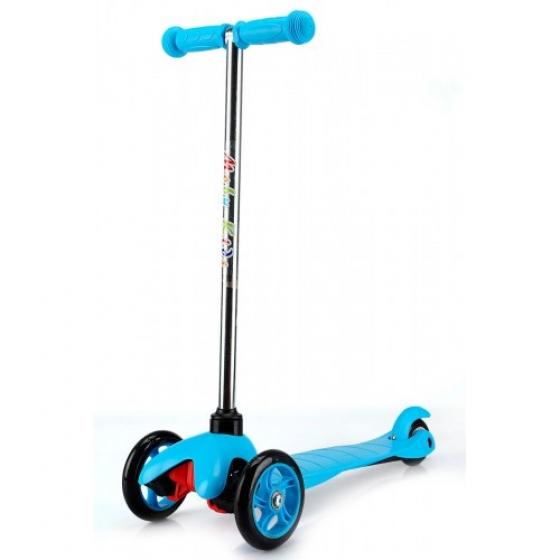 Самокат детский, трехколесный, голубой, с управлением наклоном, 64552 Moby Kids