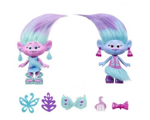 набор модные близнецы trolls, b6563 hasbro